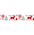 christmas seamless patterin with reindeer fir vector image vector image