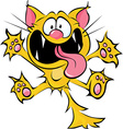 crazy cat cartoon - spitting and scratching vector image vector image
