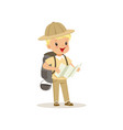 cute little boy in scout costume with backpack vector image vector image