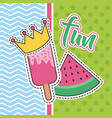 cute patches fun lollipop and watermelon badge vector image