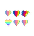 distorted glitch rainbow hearts icon vector image