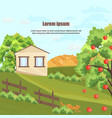farm house apple tree and grass nature vector image
