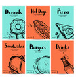 fast food vintage hand drawn graphic design set vector image vector image