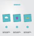 flat icons cloud pickup vineyard and other vector image vector image