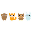 forest animal toy icon line set bear hare rabbit vector image