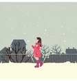 girls wearing jacket in snow enjoy cold weather vector image vector image