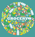 grocery food store items in round frame vector image