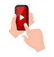 hand holding a smartphone with a video player app vector image