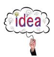 hand isolate pencil idea write red idea business vector image vector image
