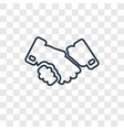 handshake concept linear icon isolated on vector image