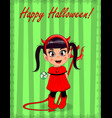 happy halloween greeting card of little cute vector image