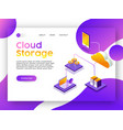 internet web app landing page for cloud storage vector image