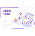 isometric people pushing gears and analyzing data vector image vector image