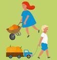 kids going with truck harvest pumpkin vector image