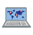laptop showing map vector image vector image