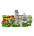 leaning tower of pisa italy sketch for your vector image vector image