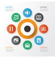 media icons set with record minimize megaphone vector image vector image