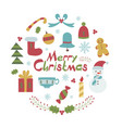 merry christmas card in childish style vector image