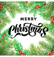 merry christmas greeting card calligraphy gold vector image