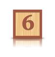 number 6 wooden alphabet block vector image vector image