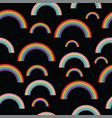 pastel rainbows on black background - oldschool vector image vector image