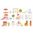 playground equipment kids park carousels swings vector image
