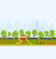 public park with children playground vector image vector image