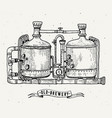 retro brewery engraving copper tanks and barrels vector image vector image