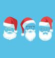 santa claus costume hats white moustache vector image