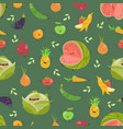 seamless background with fruits and vegetables on vector image vector image