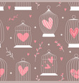seamless decorative spring pattern with cages and vector image