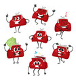 set of cute and funny purse wallet characters vector image