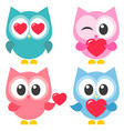 set of cute colorful owls with hearts vector image vector image
