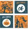 set of halloween banners in cartoon style vector image