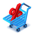 Shopping cart percent sign icon isometric style