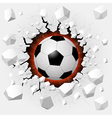 Soccer ball with cracked background vector image