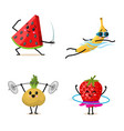 Sports fruit characters set of cute healthy