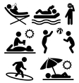 summer pictograms flat people icons isolated on vector image