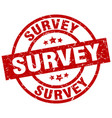 survey round red grunge stamp vector image vector image