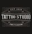 vintage logo for tattoo studio vector image