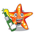 with beer underwater sea in the starfish mascot vector image vector image