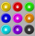 Bug Virus icon sign symbol on nine round colourful vector image
