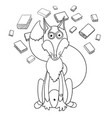 cute cartoon clever fox in glasses which loves to vector image