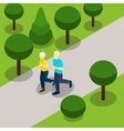 Active Retirement Lifestyle Isometric Banner vector image