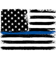 American Flag with Thin Blue Line Grunge Aged vector image vector image