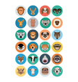 Animals Flat Colored Icons 2 vector image vector image