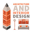 architecture and interior design concept in flat vector image vector image
