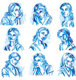 Attractive young ladies art portraits collection vector image vector image