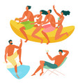 beach people relaxing vector image vector image
