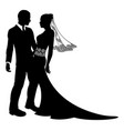 bride and groom wedding couple silhouette vector image vector image